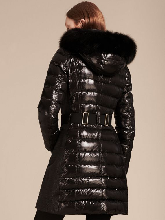Down-Filled Coat with Detachable Fur-trimmed Hood in Black - cell image 2