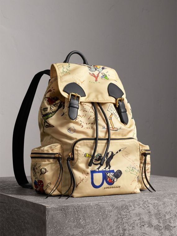 The Large Rucksack in Sketch Print Nylon in Honey