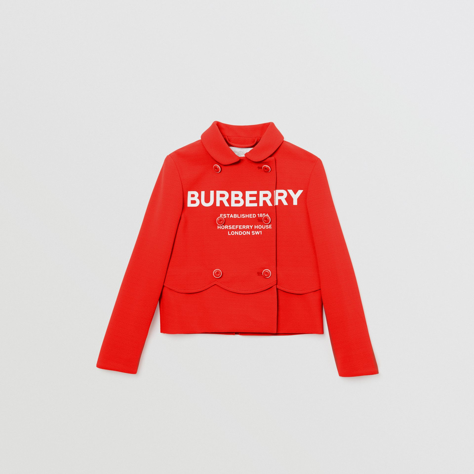 Logo Print Crepe Jersey Double-breasted Jacket in Bright Red | Burberry - gallery image 0
