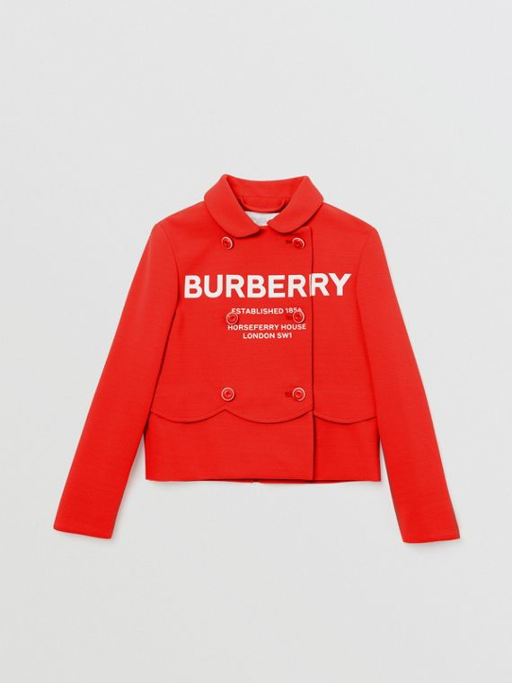 Logo Print Crepe Jersey Double-breasted Jacket in Bright Red