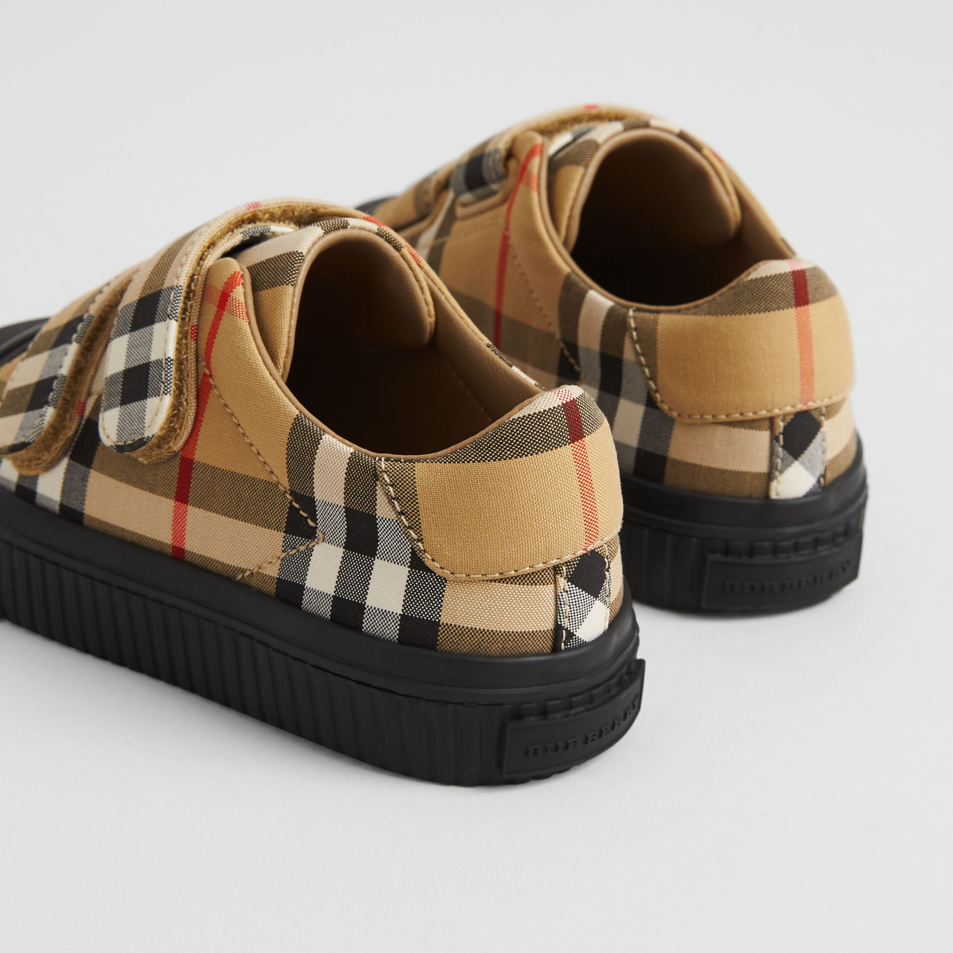 Vintage Check and Leather Sneakers in Antique Yellow/black | Burberry United Kingdom - gallery image 2