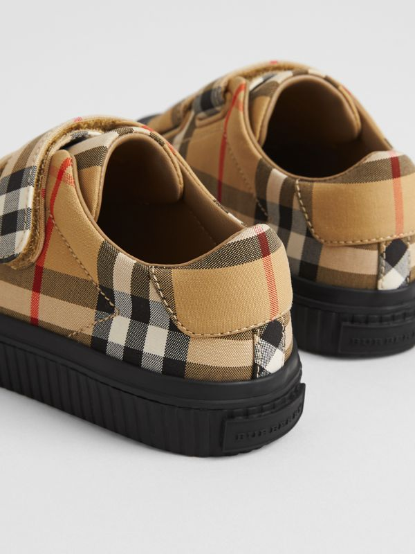 Vintage Check and Leather Sneakers in Antique Yellow/black | Burberry Australia - cell image 2
