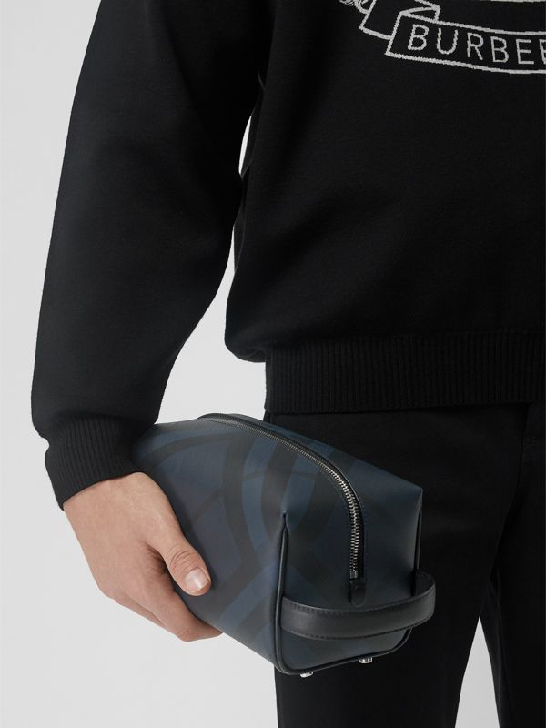 London Check and Leather Pouch in Navy/black - Men | Burberry Singapore - cell image 3