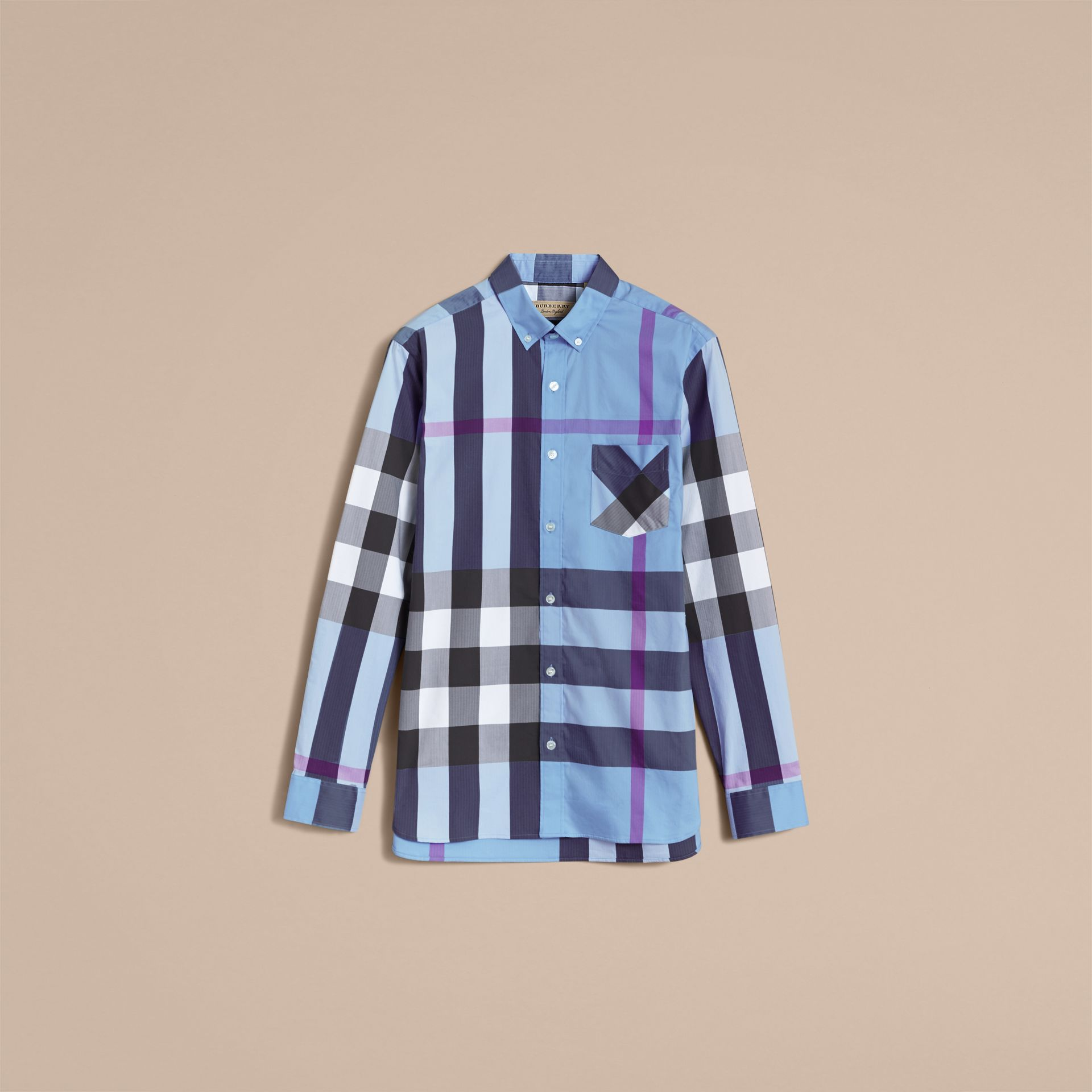 Button-down Collar Check Stretch Cotton Blend Shirt in Cyan Blue - Men | Burberry - gallery image 4