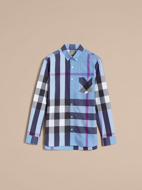 Button-down Collar Check Stretch Cotton Blend Shirt in Cyan Blue - Men | Burberry - cell image 3