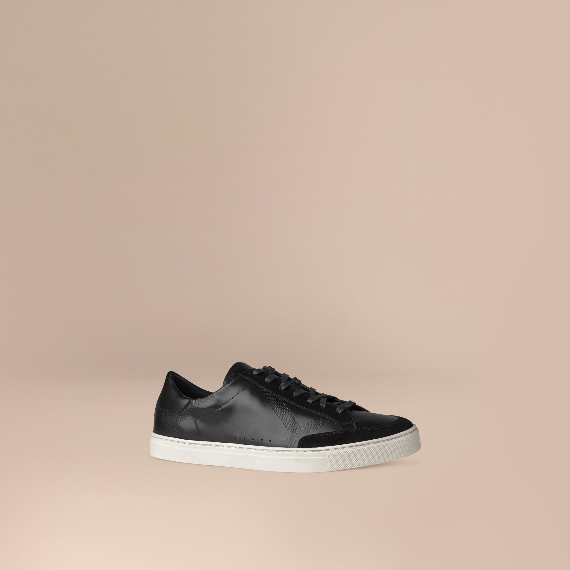 Black Embossed Check Leather Trainers - gallery image 1