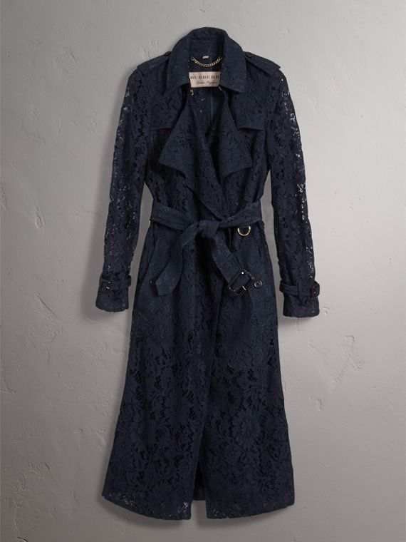 Macramé Lace Trench Coat in Navy - Women | Burberry - cell image 2