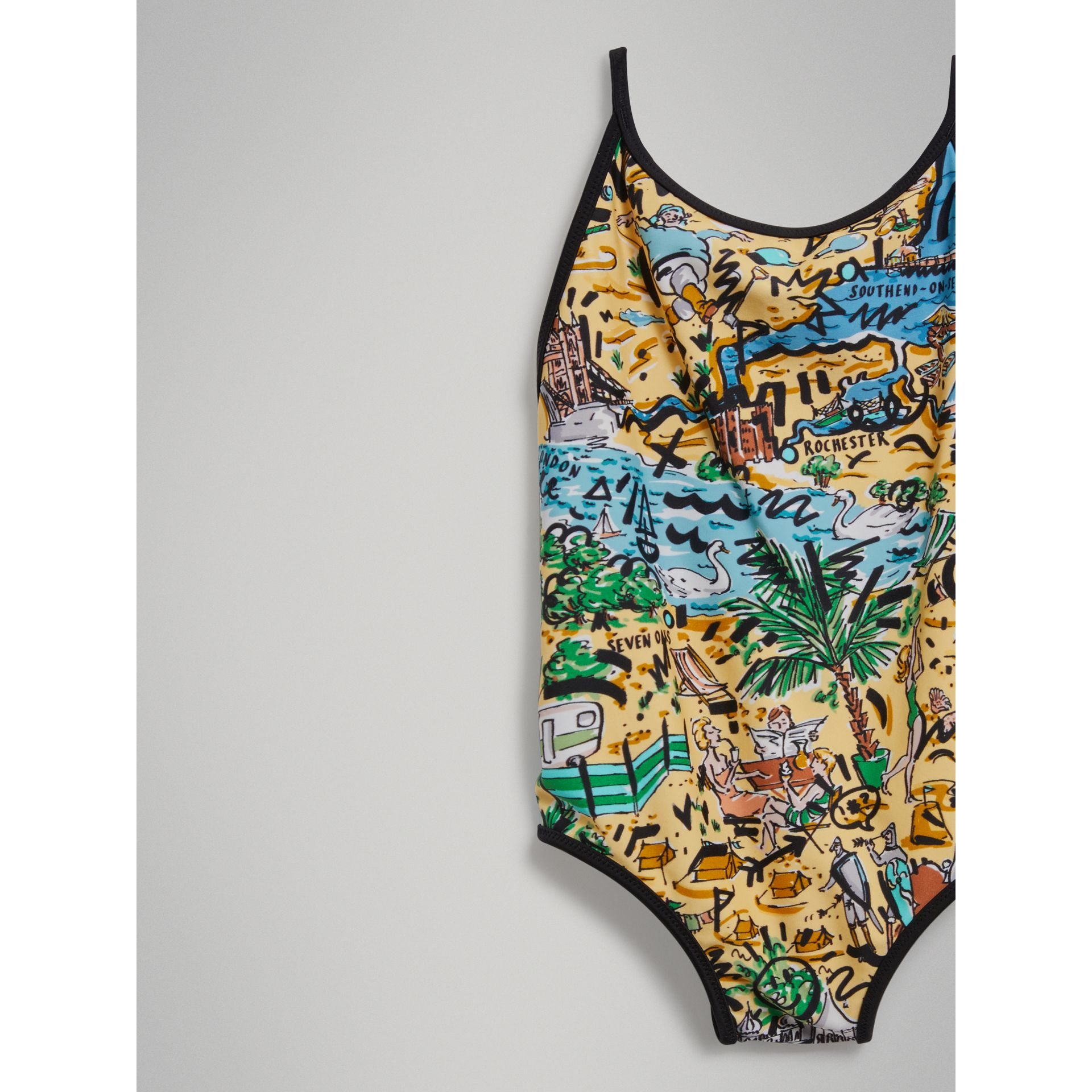 Seaside Print One-piece Swimsuit in Honey - Girl | Burberry Hong Kong - gallery image 4