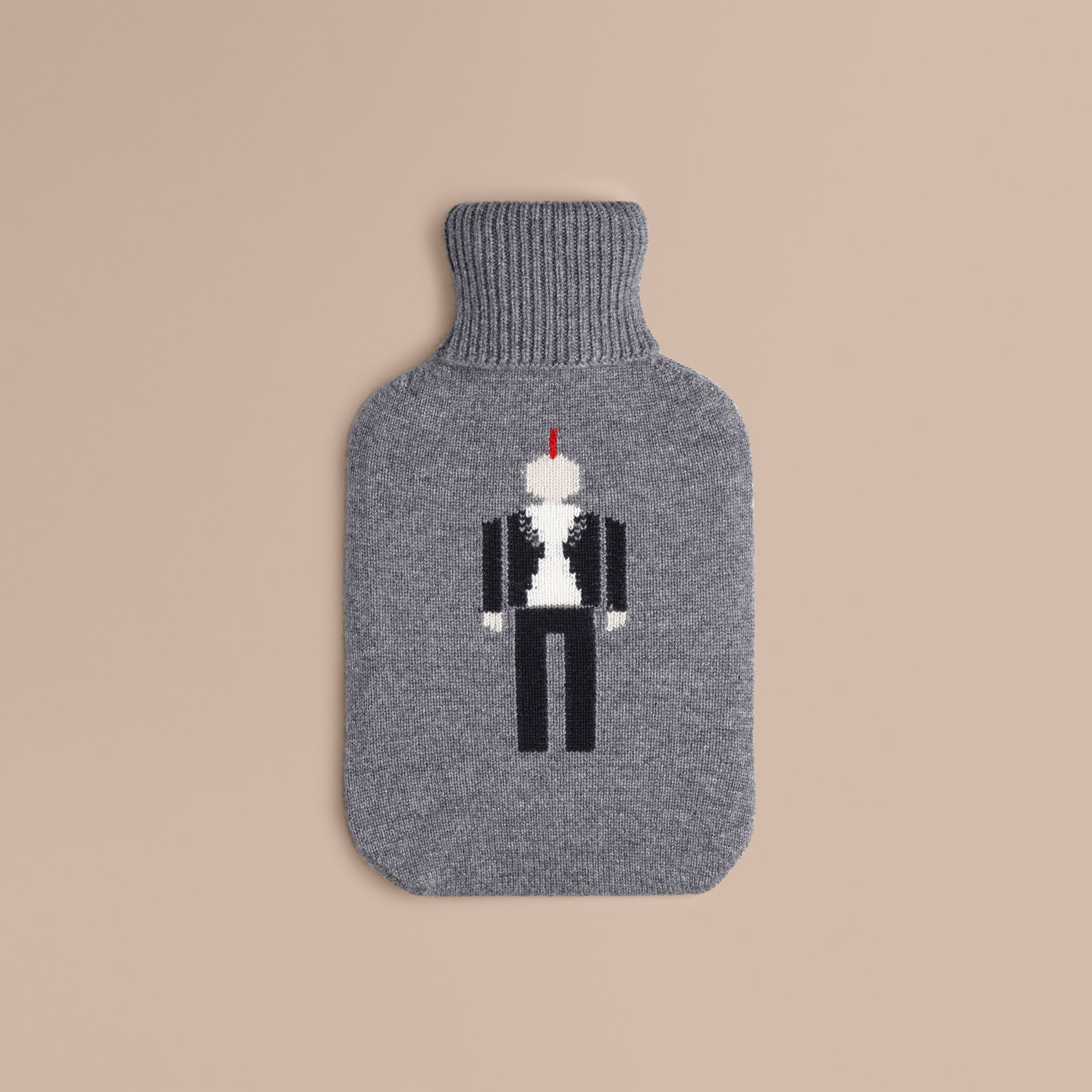 Mid grey melange The Punk Graphic Cashmere Hot Water Bottle Cover - gallery image 1