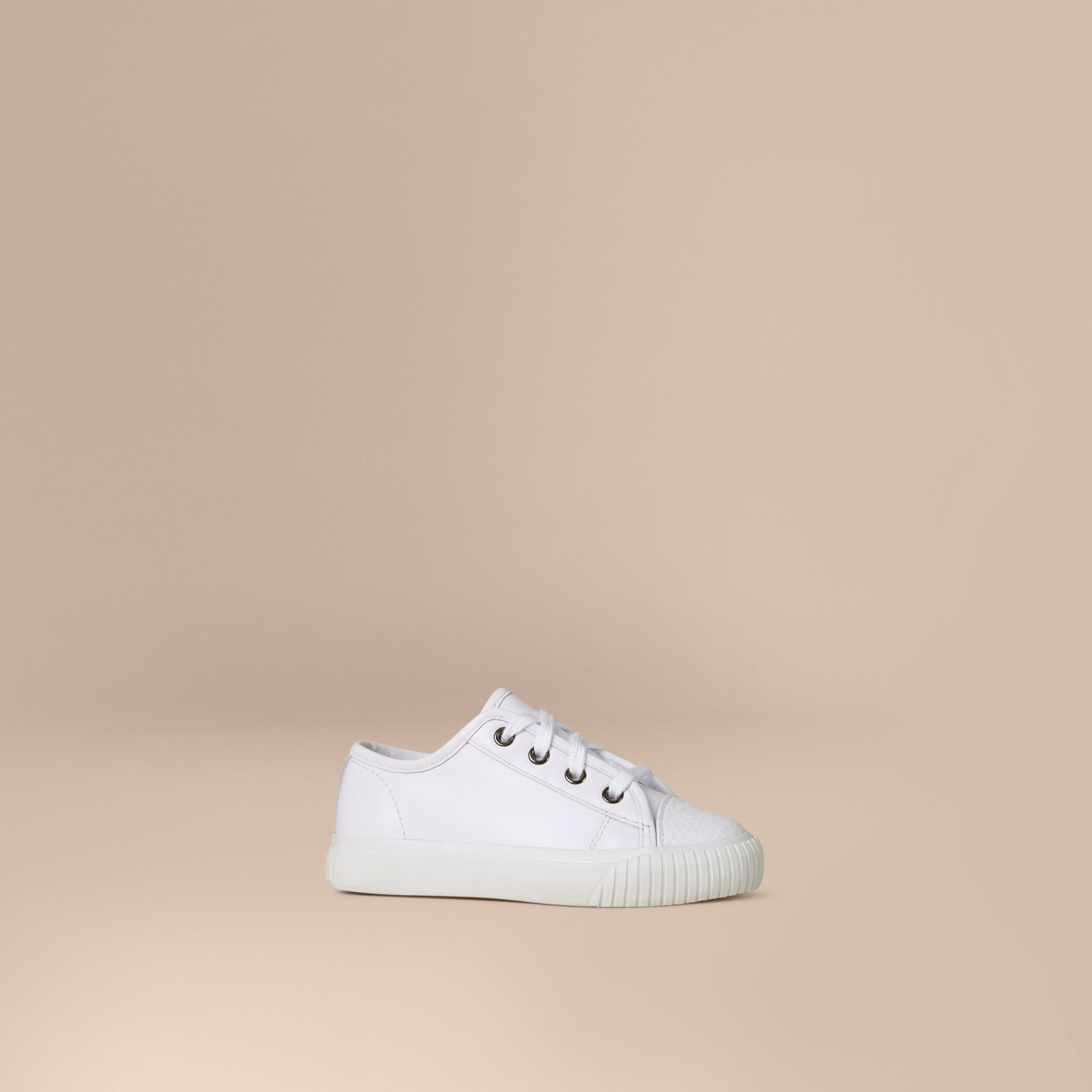 White Leather Lace-Up Trainers - gallery image 1