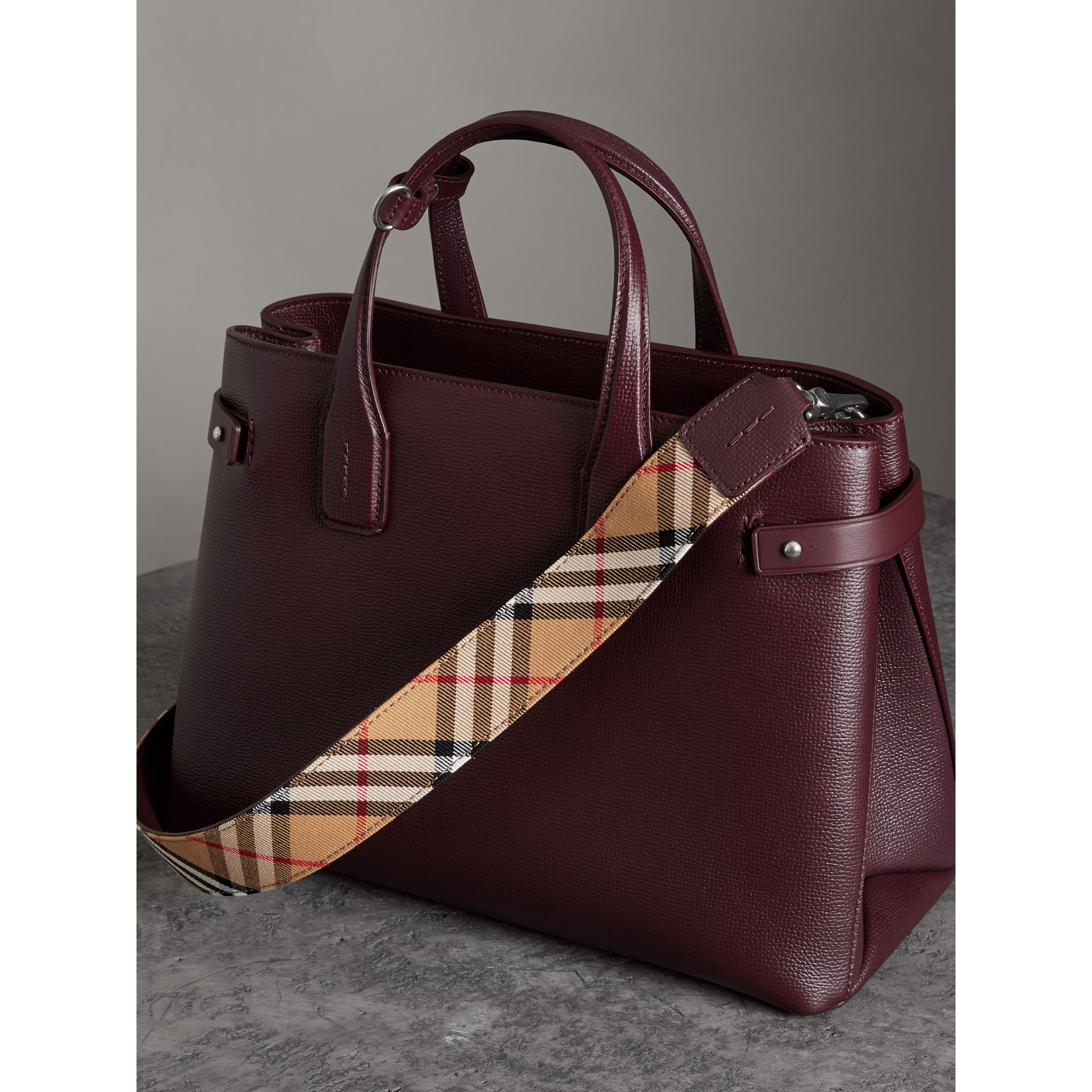 The Medium Banner in Leather and Vintage Check in Mahogany Red - Women | Burberry Canada - gallery image 2
