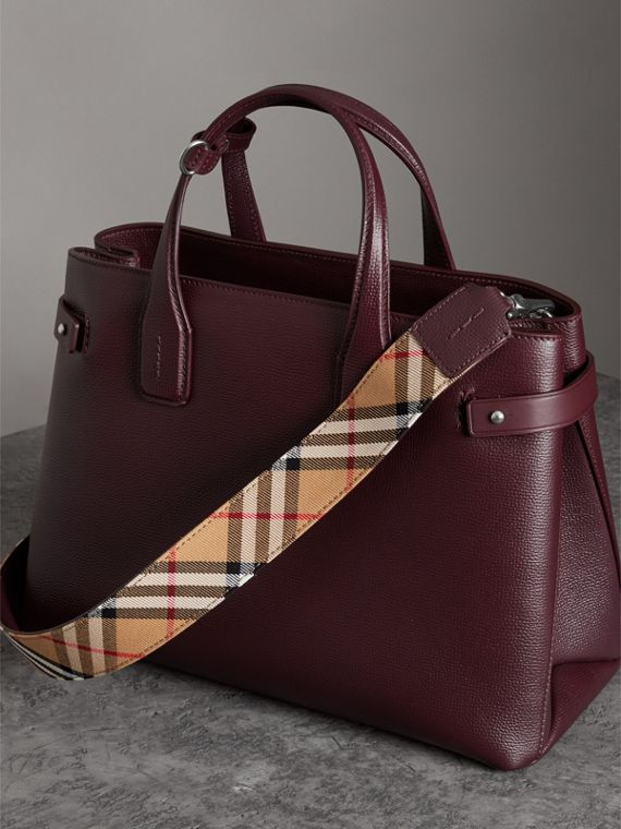 The Medium Banner in Leather and Vintage Check in Mahogany Red - Women | Burberry - cell image 2