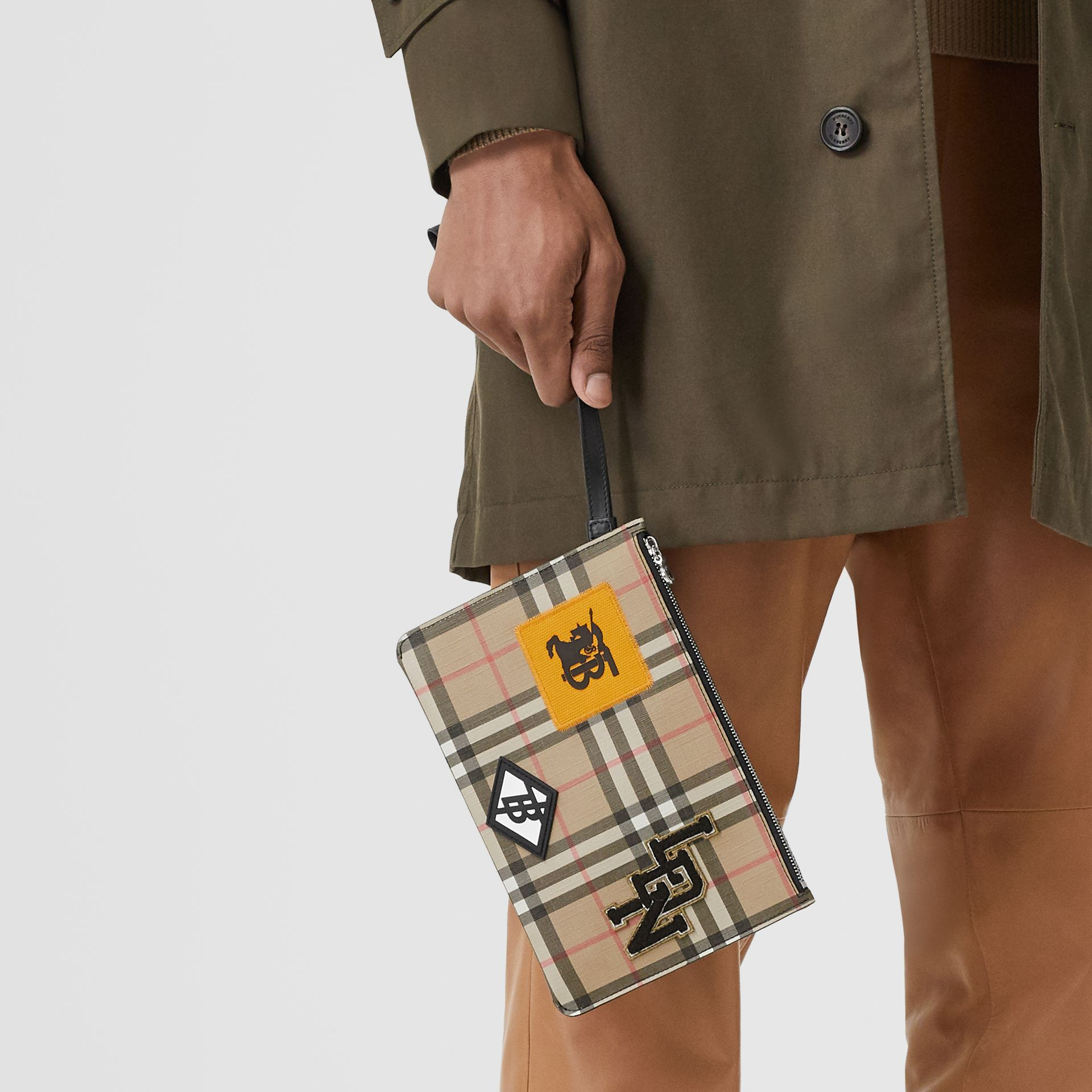 Logo Graphic Vintage Check E-canvas Zip Pouch in Archive Beige | Burberry - gallery image 3