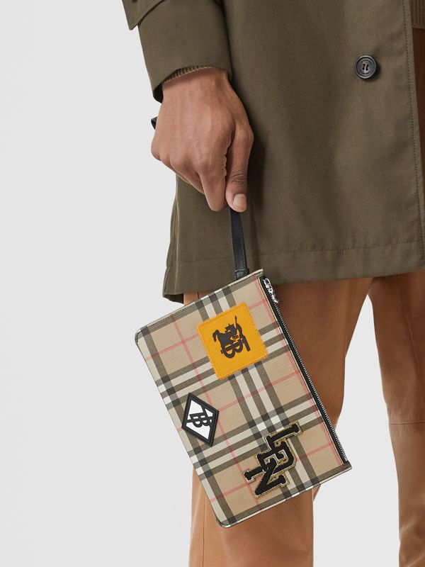 Logo Graphic Vintage Check E-canvas Zip Pouch in Archive Beige | Burberry - cell image 3