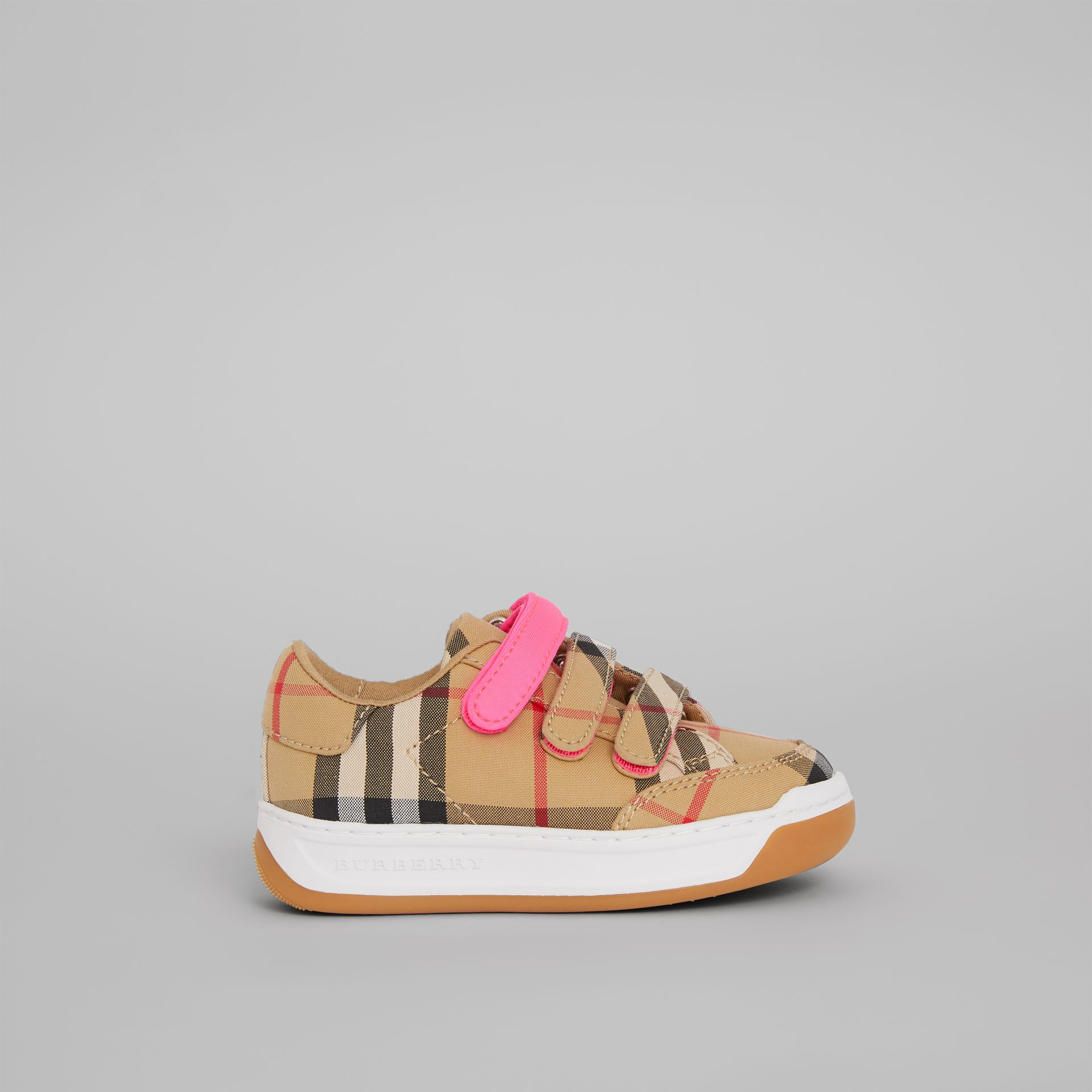 Vintage Check Sneakers in Antique Yellow/neon Pink - Children | Burberry Australia - gallery image 3