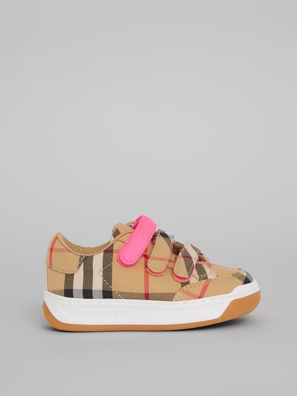 Vintage Check Sneakers in Antique Yellow/neon Pink - Children | Burberry Hong Kong - cell image 3