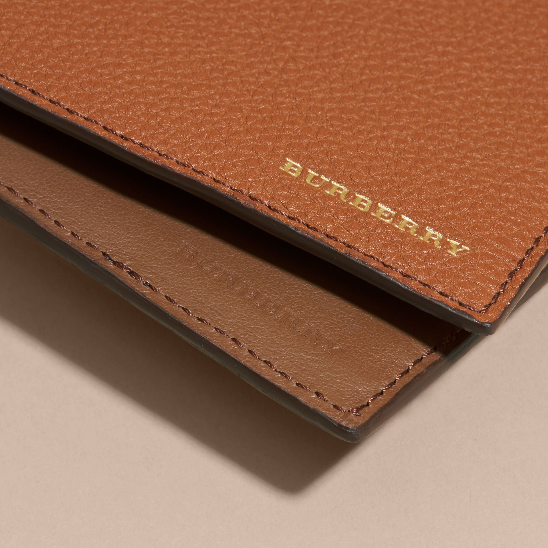 Leather and House Check International Bifold Wallet Russet - gallery image 2