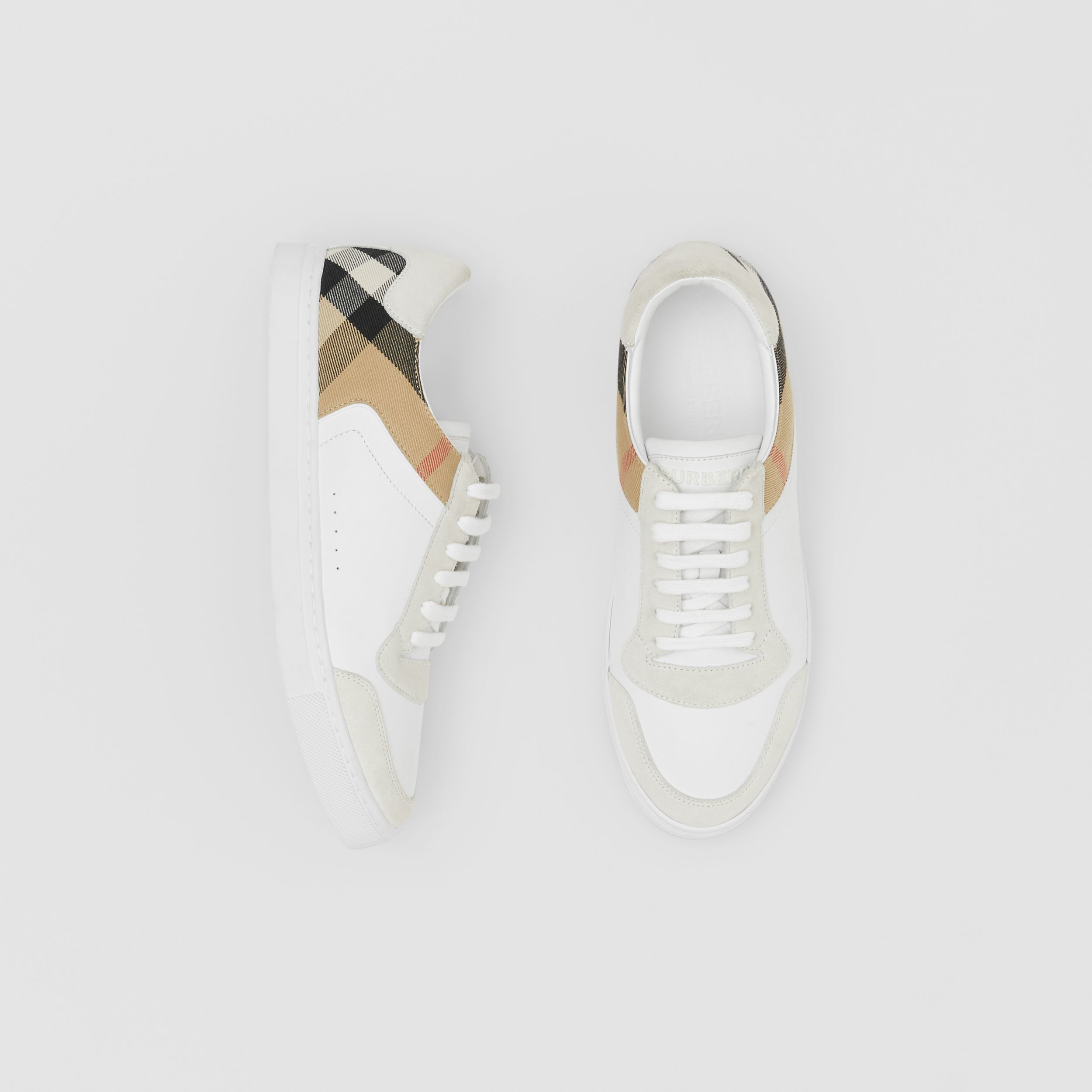 Leather, Suede and House Check Sneakers in Optic White - Men | Burberry - 1