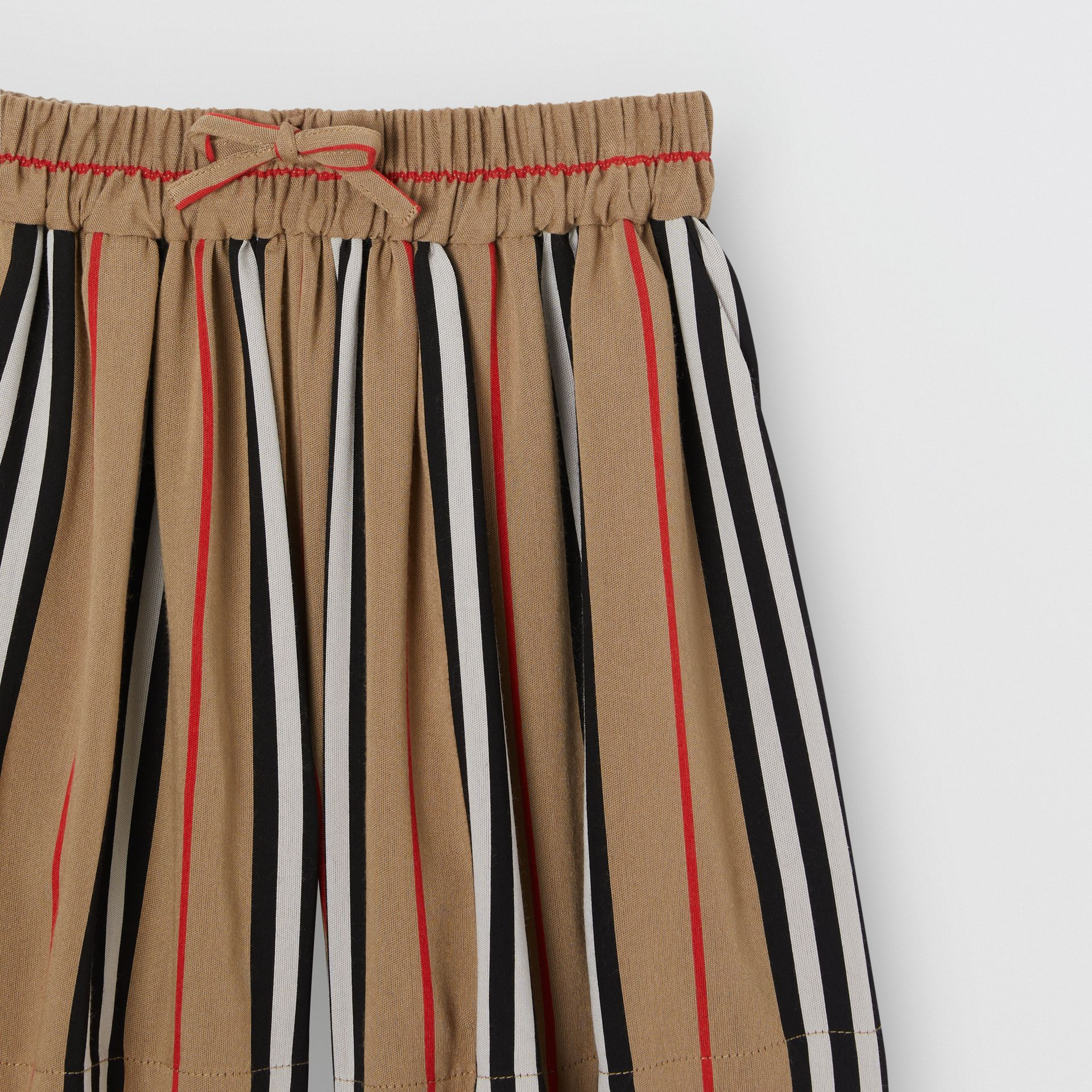 Gathered Icon Stripe Drawcord Shorts in Archive Beige | Burberry United Kingdom - gallery image 4
