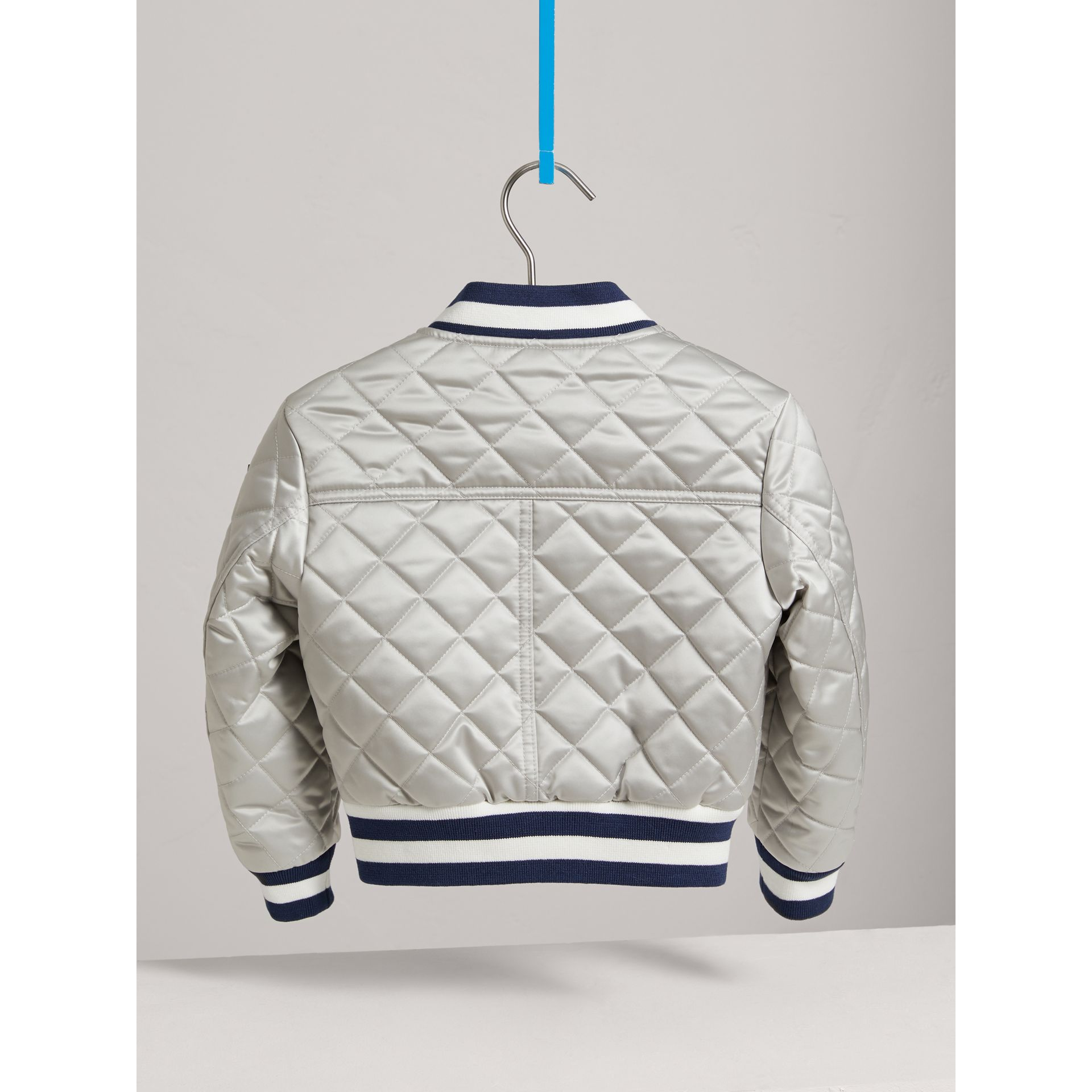 Stripe Detail Diamond Quilted Satin Bomber Jacket in Silver - Girl | Burberry - gallery image 3
