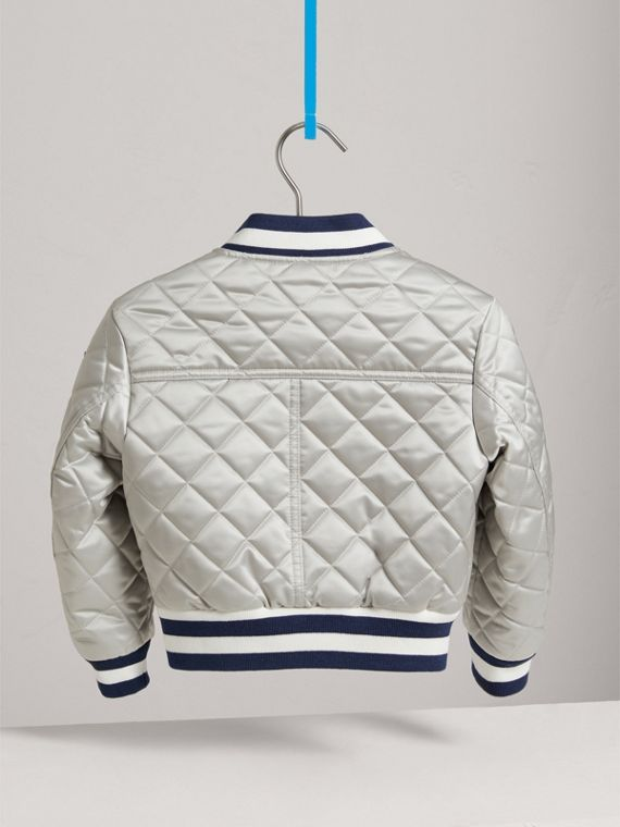 Stripe Detail Diamond Quilted Satin Bomber Jacket in Silver - Girl | Burberry - cell image 3