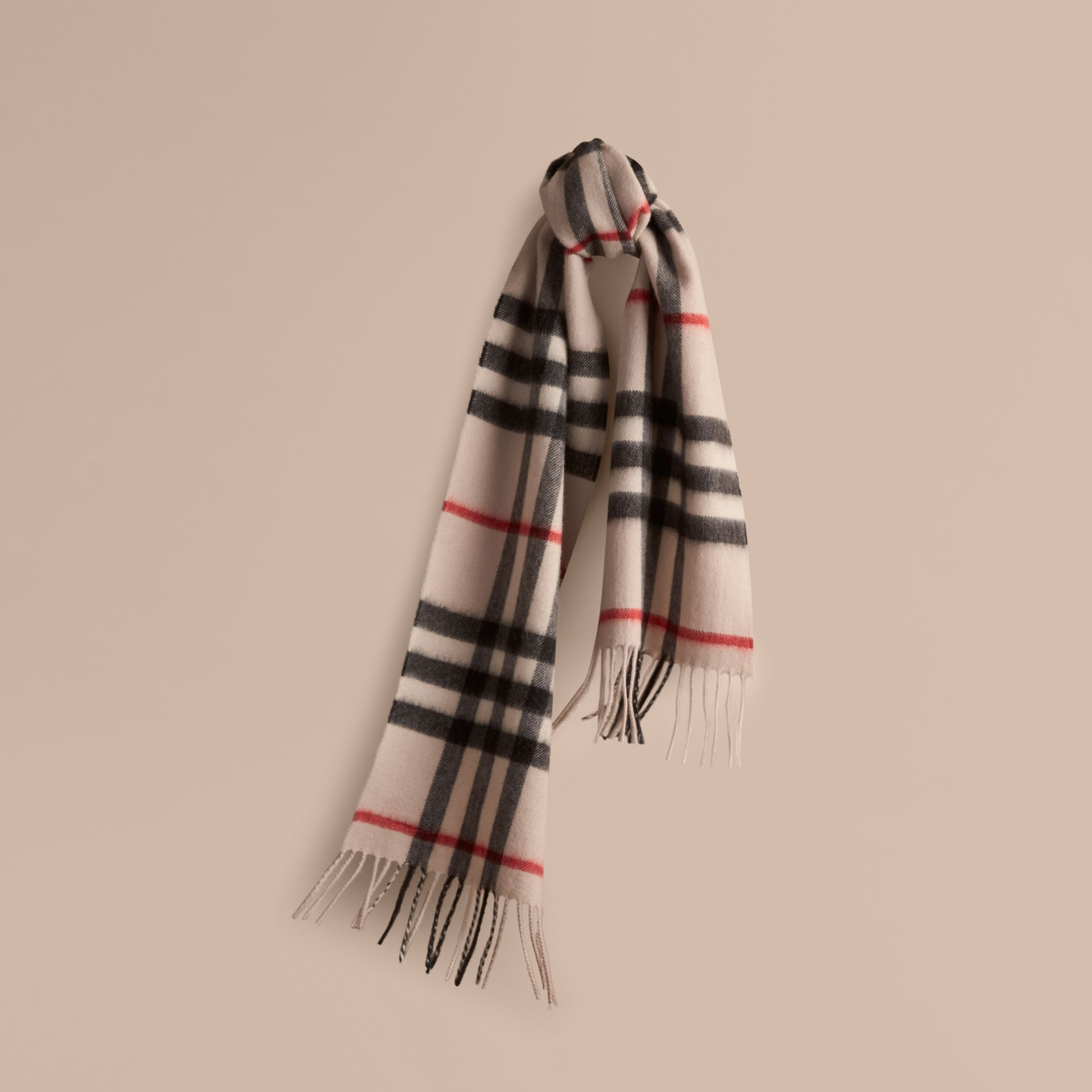 The Mini Classic Check Cashmere Scarf in Stone | Burberry United Kingdom - gallery image 5