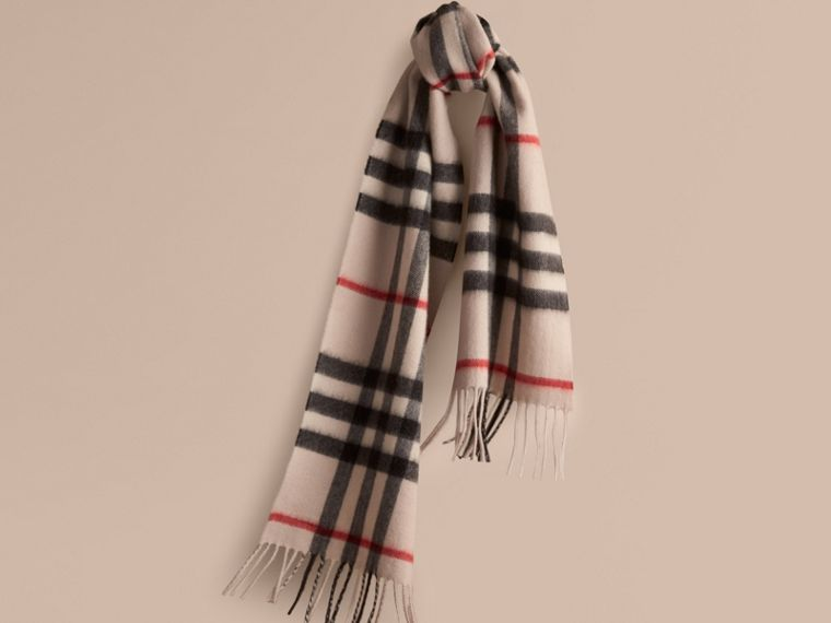 The Mini Classic Cashmere Scarf in Check in Stone | Burberry - cell image 4