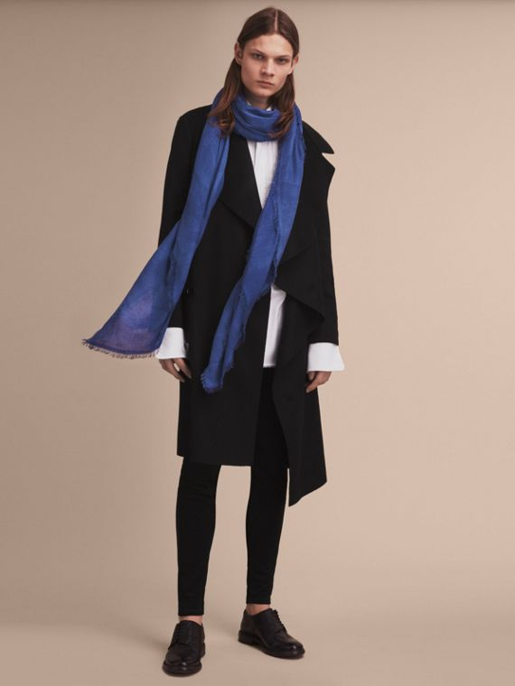 Lightweight Overdyed Modal Wool Scarf in Bright Cornflower | Burberry - cell image 2