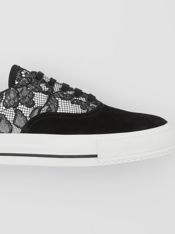 Lace and Leather Sneakers in Black/white - Women | Burberry - cell image 1