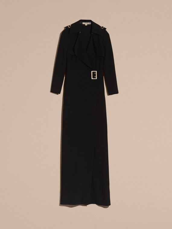 Floor-length Satin-back Crepe Trench Dress - cell image 3