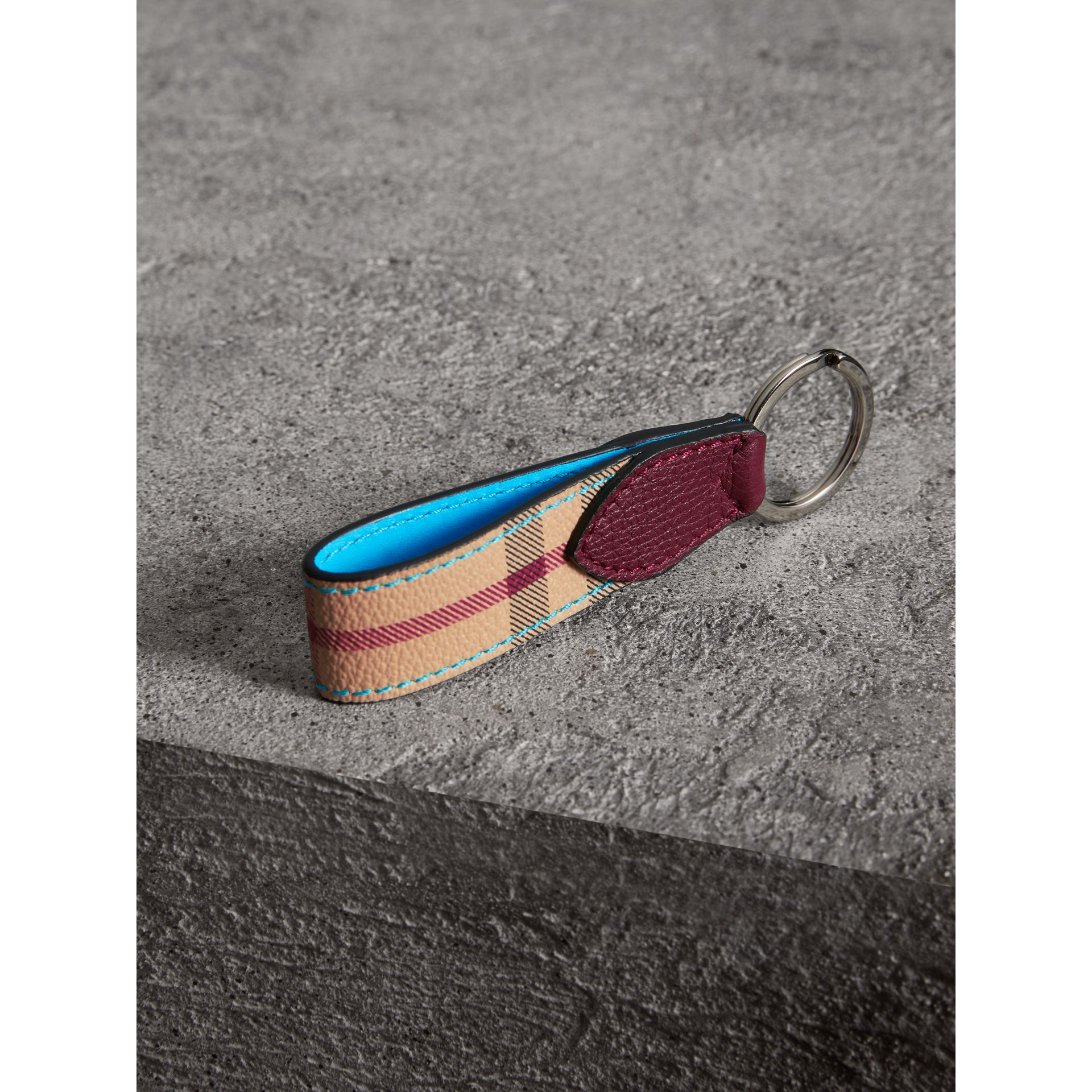 Haymarket Check and Two-tone Leather Key Ring in Bright Blue | Burberry - gallery image 2