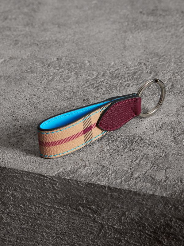 Haymarket Check and Two-tone Leather Key Ring in Bright Blue | Burberry - cell image 2