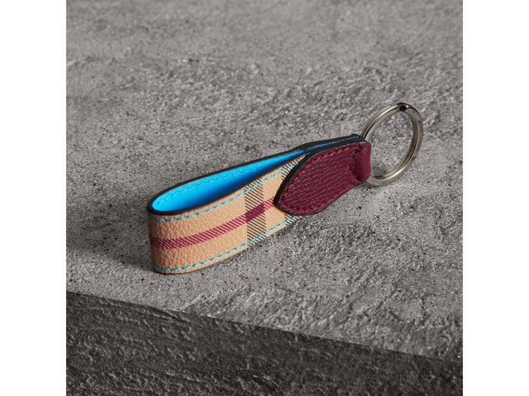 Haymarket Check and Two-tone Leather Key Ring in Bright Blue - Men | Burberry - cell image 2