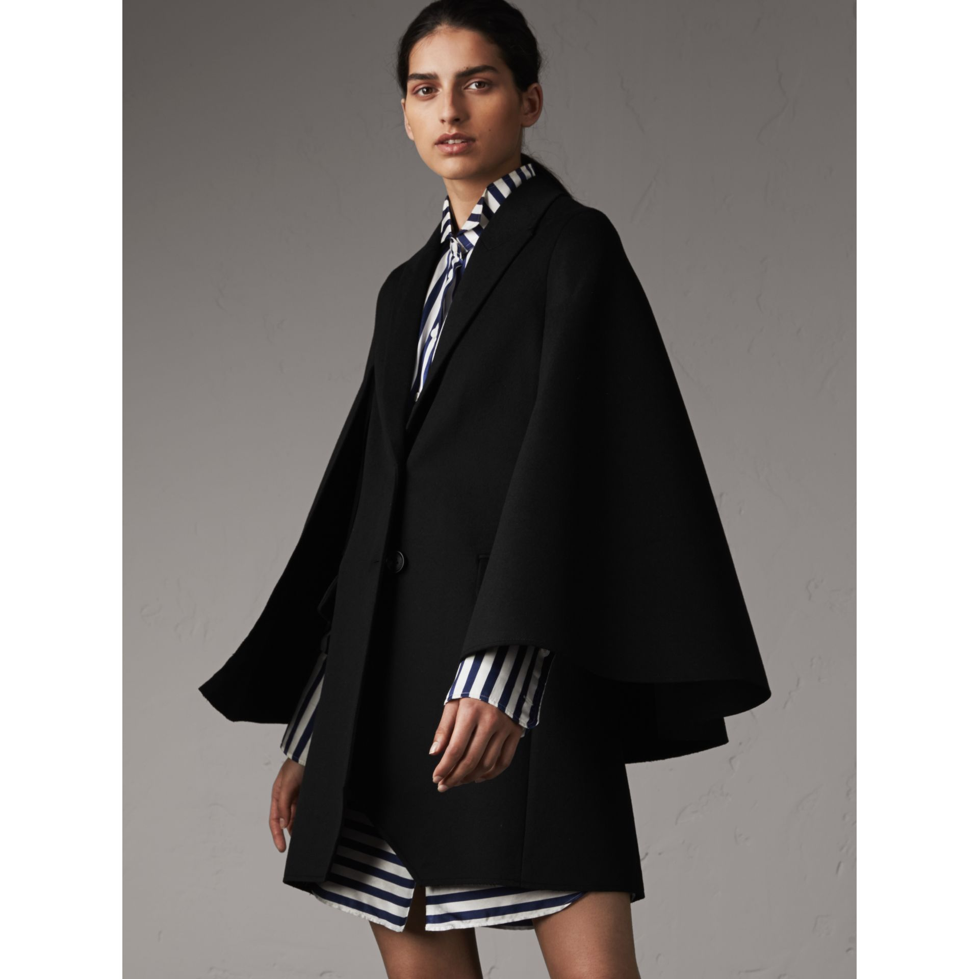 Double-faced Wool Cape Coat in Black - Women | Burberry - gallery image 1