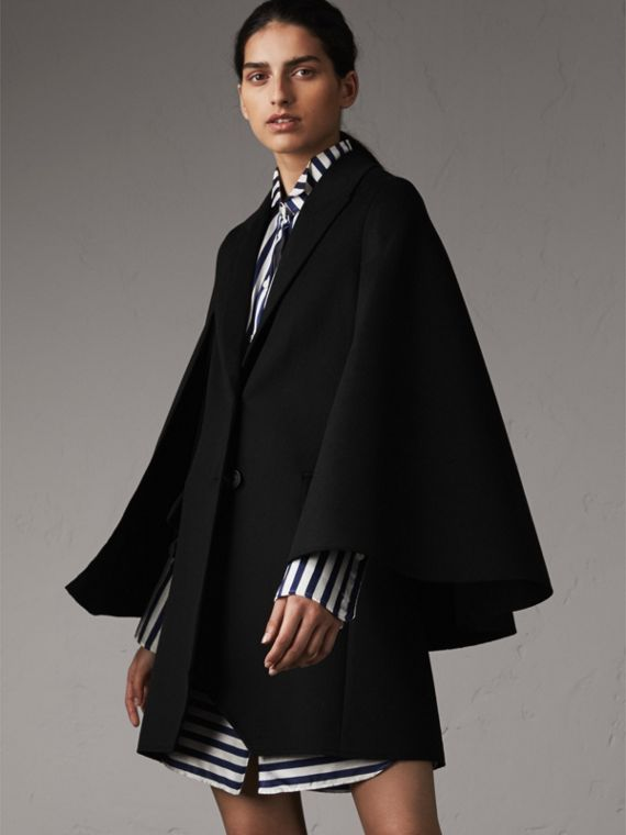 Manteau-cape en laine double face (Noir)