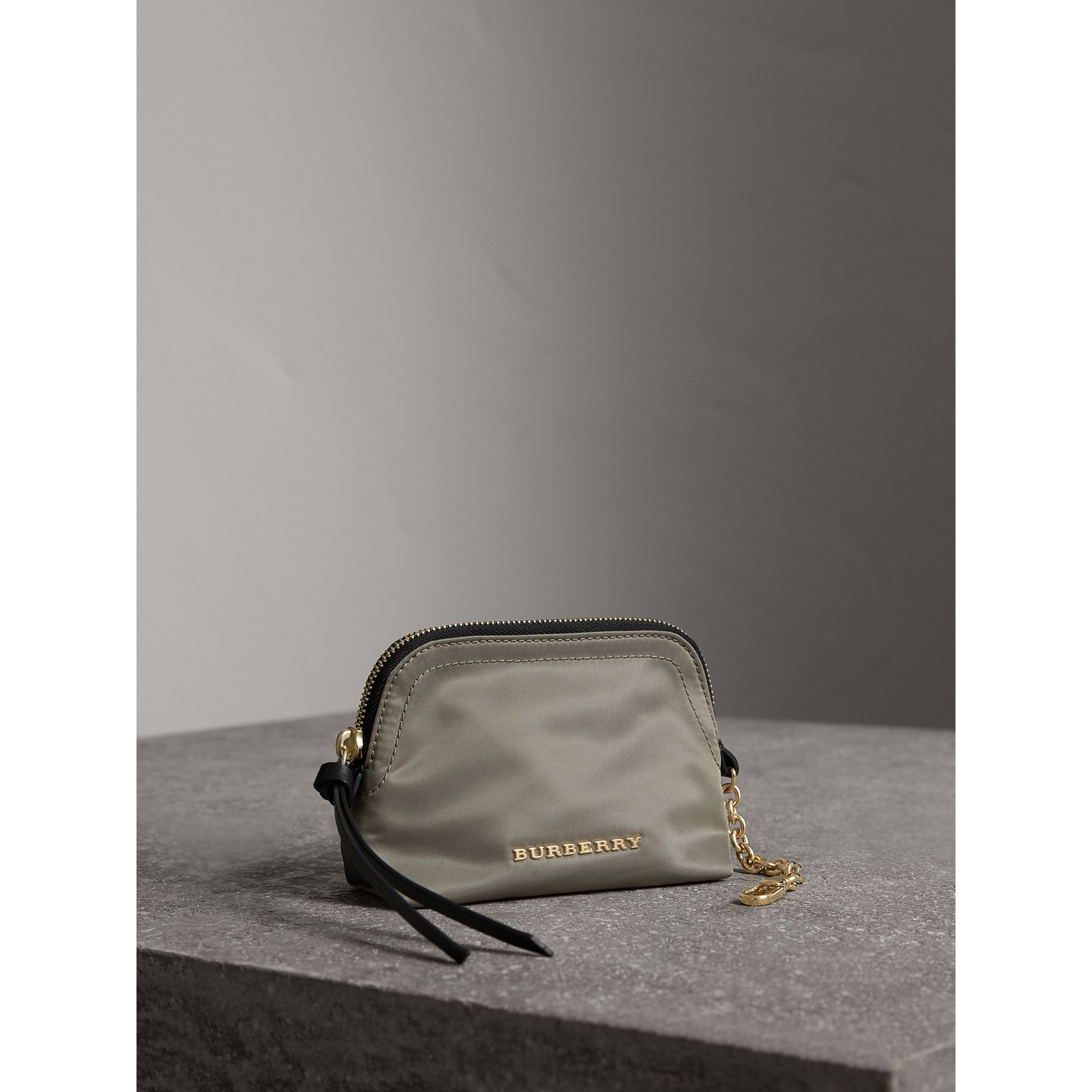 Small Zip-top Technical Nylon Pouch in Thistle Grey - Women | Burberry - gallery image 5