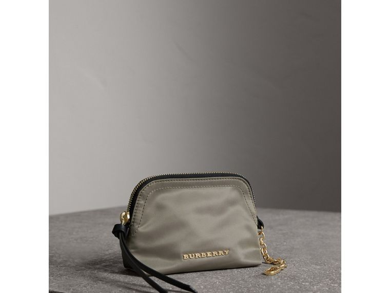 Small Zip-top Technical Nylon Pouch in Thistle Grey - Women | Burberry - cell image 4