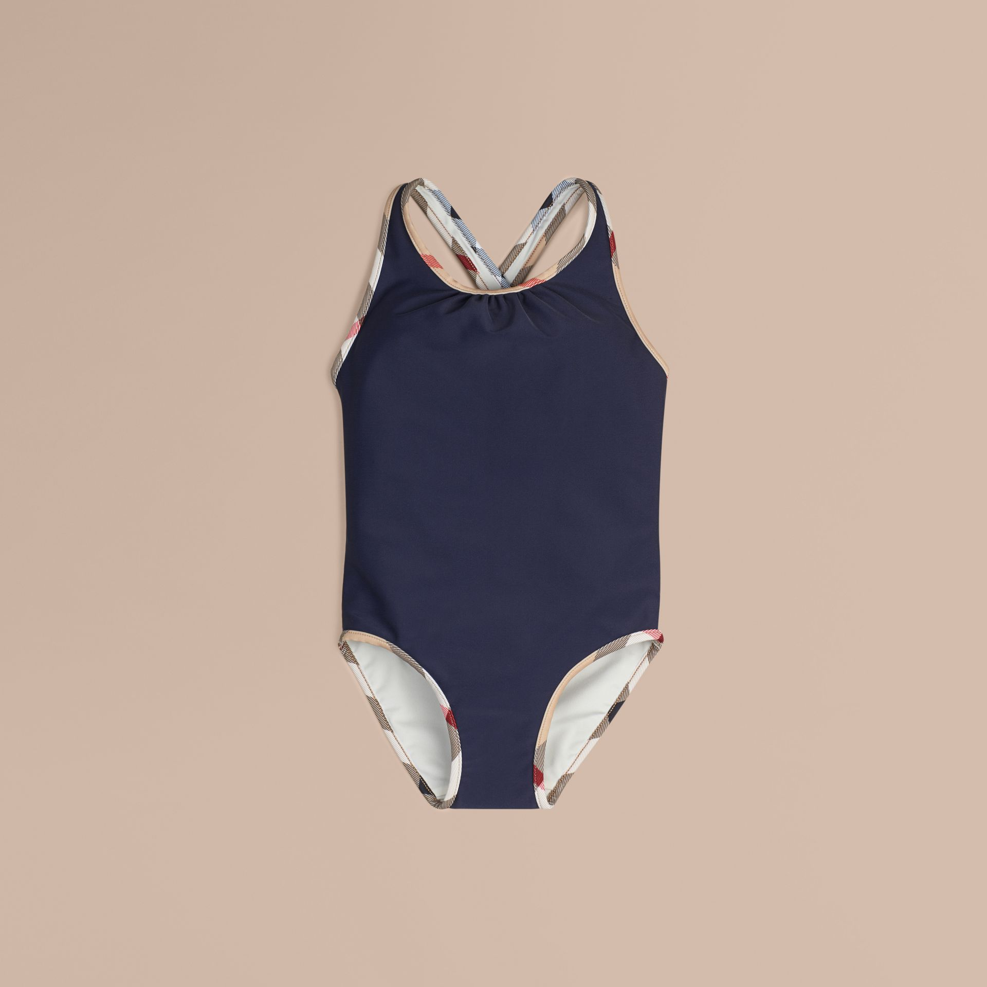 Check Detail One-piece Swimsuit in Navy - Girl | Burberry Canada - gallery image 1