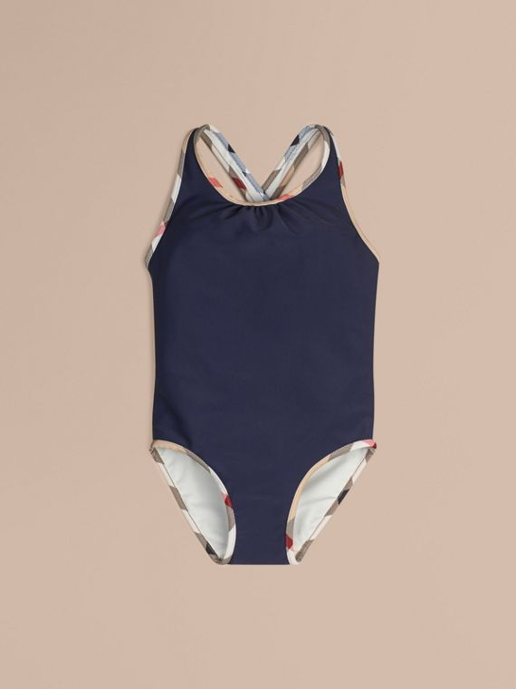 Check Detail One-piece Swimsuit Navy