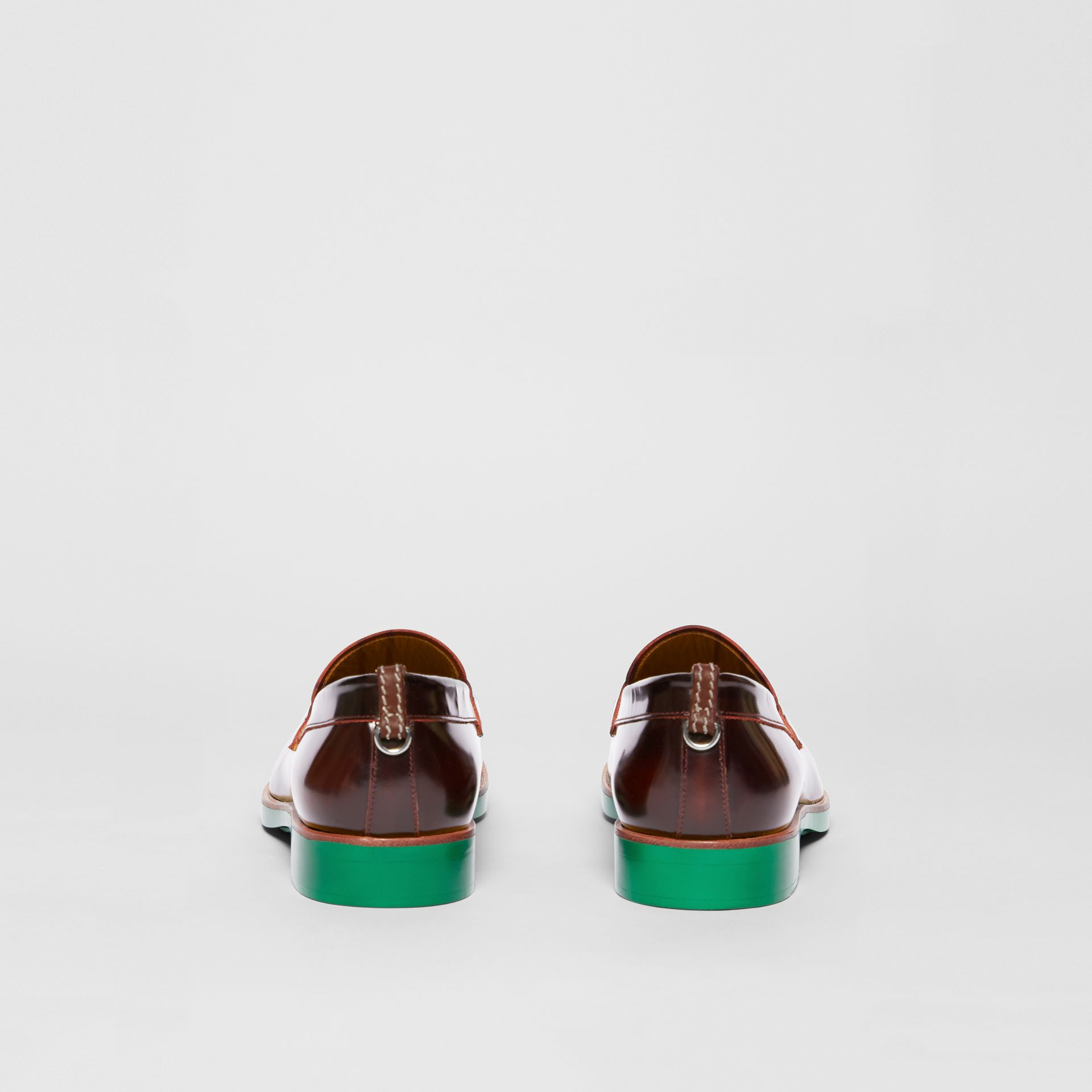 D-ring Detail Contrast Sole Leather Loafers in Bordeaux/green - Men | Burberry United Kingdom - gallery image 4