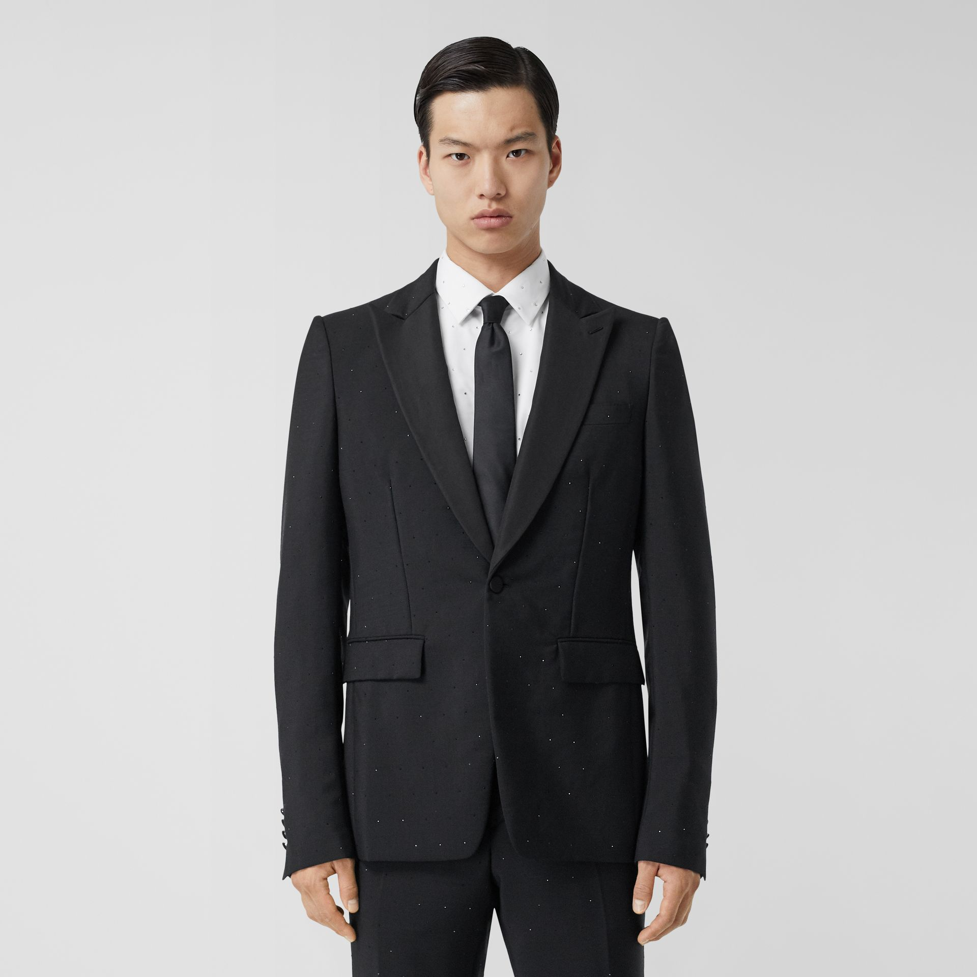 English Fit Embellished Wool Mohair Tailored Jacket in Black - Men | Burberry - gallery image 0