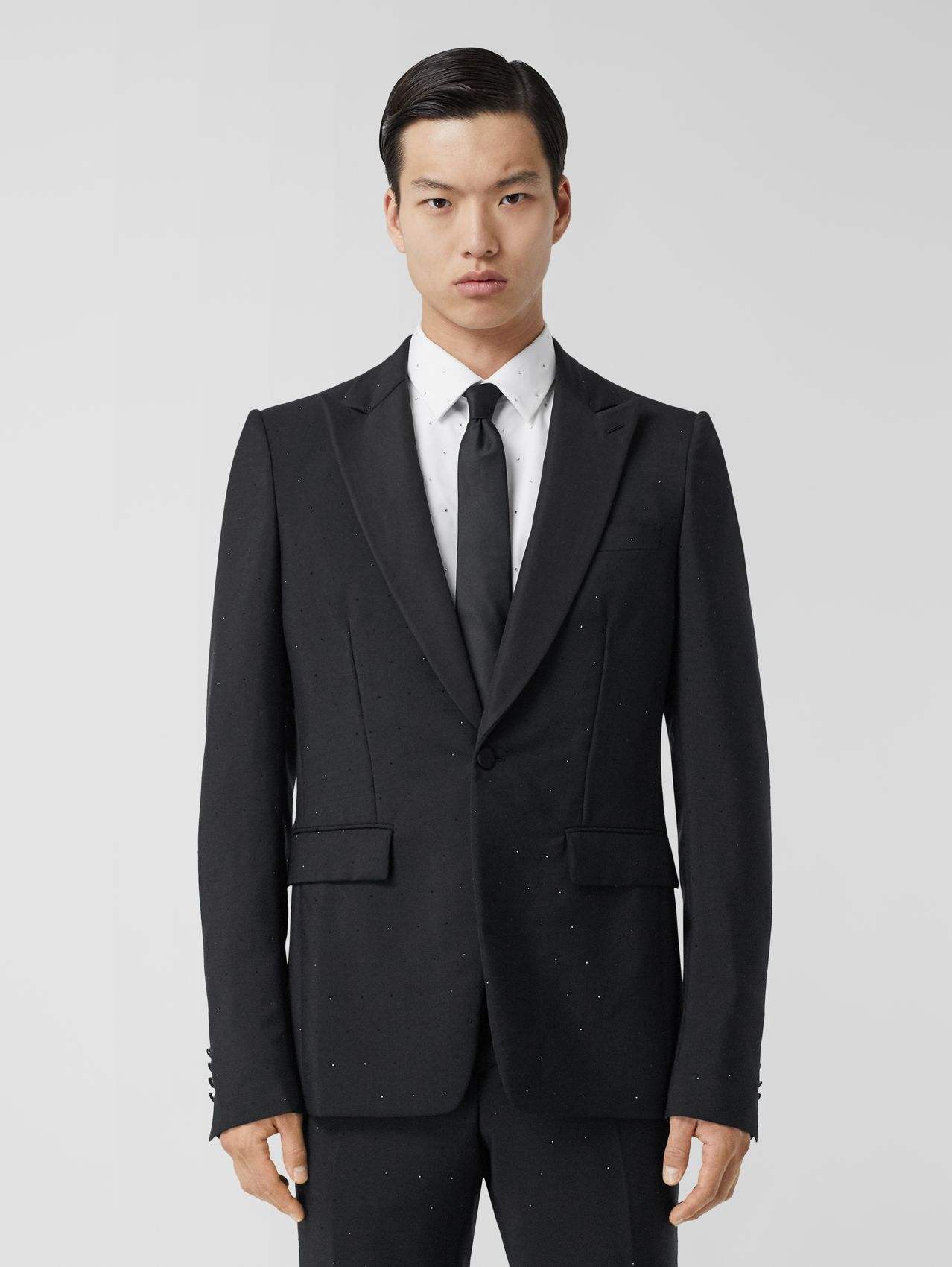 English Fit Embellished Wool Mohair Tailored Jacket in Black