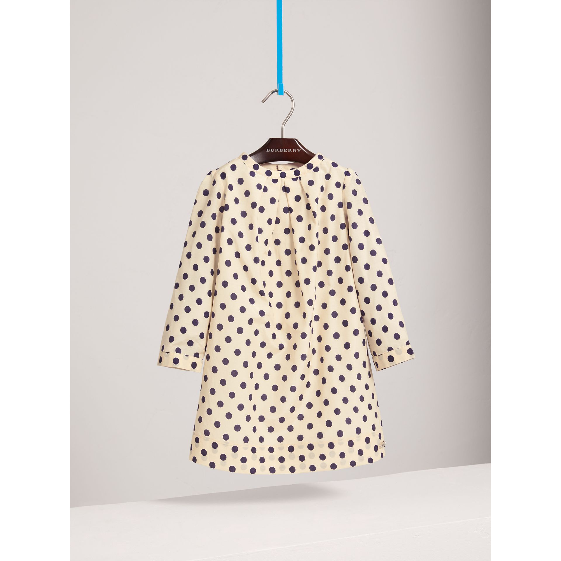 Spot Print Cotton Silk A-line Dress in Natural White | Burberry Canada - gallery image 0