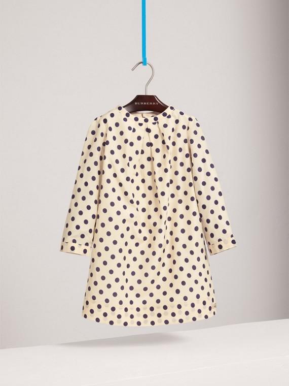 Spot Print Cotton Silk A-line Dress in Natural White