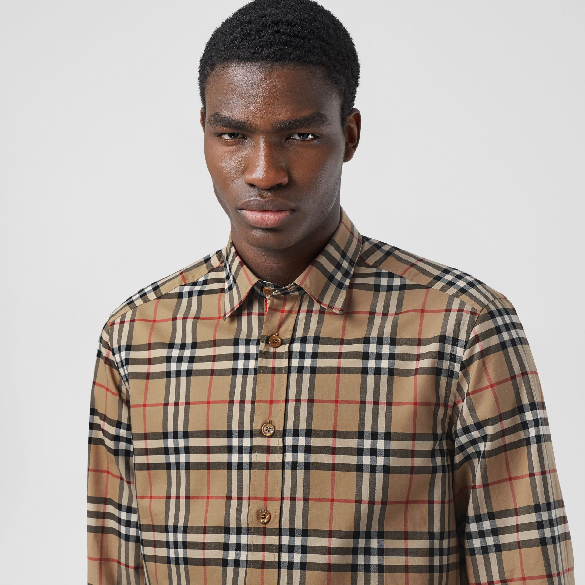 Icon Stripe Cuff Vintage Check Cotton Shirt in Archive Beige - Men | Burberry - gallery image 1