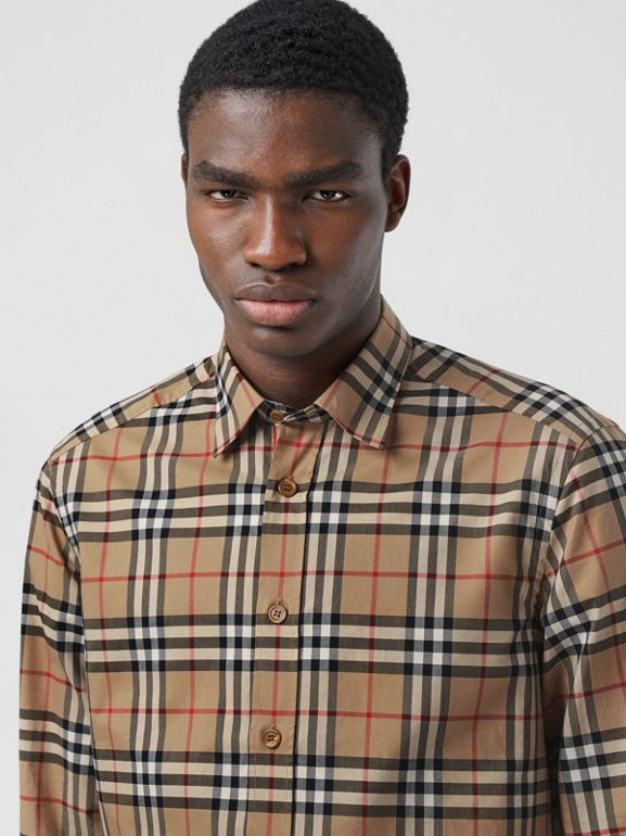Icon Stripe Cuff Vintage Check Cotton Shirt in Archive Beige - Men | Burberry - cell image 1