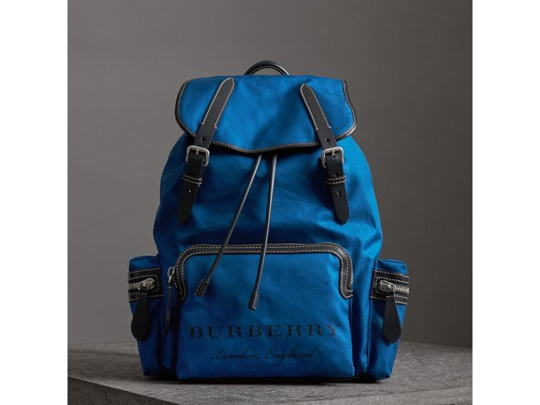 The Large Rucksack in Cotton Canvas in Bright  Blue - Men | Burberry - cell image 4
