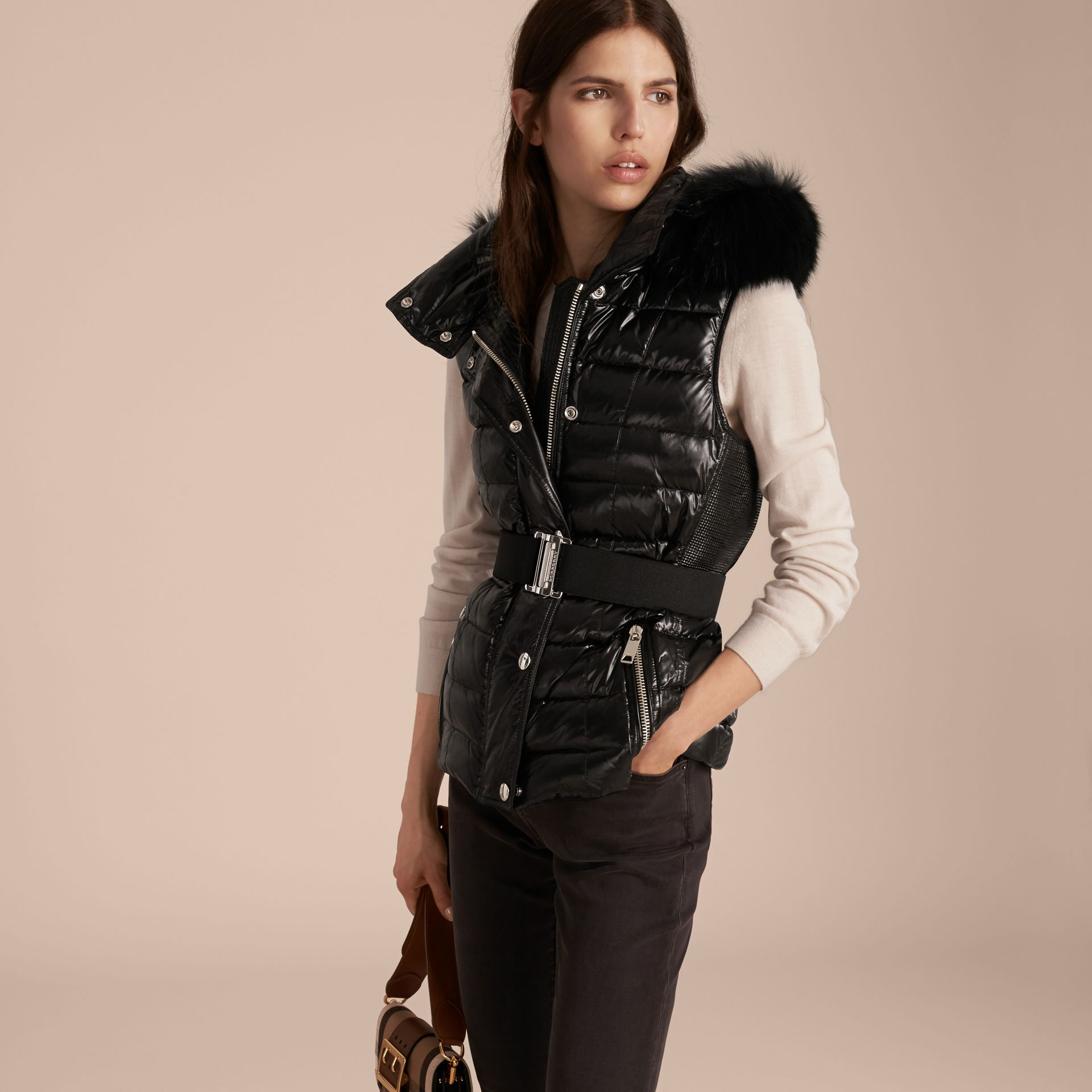 Black Down-filled Gilet with Detachable Fur-trimmed Hood - gallery image 7