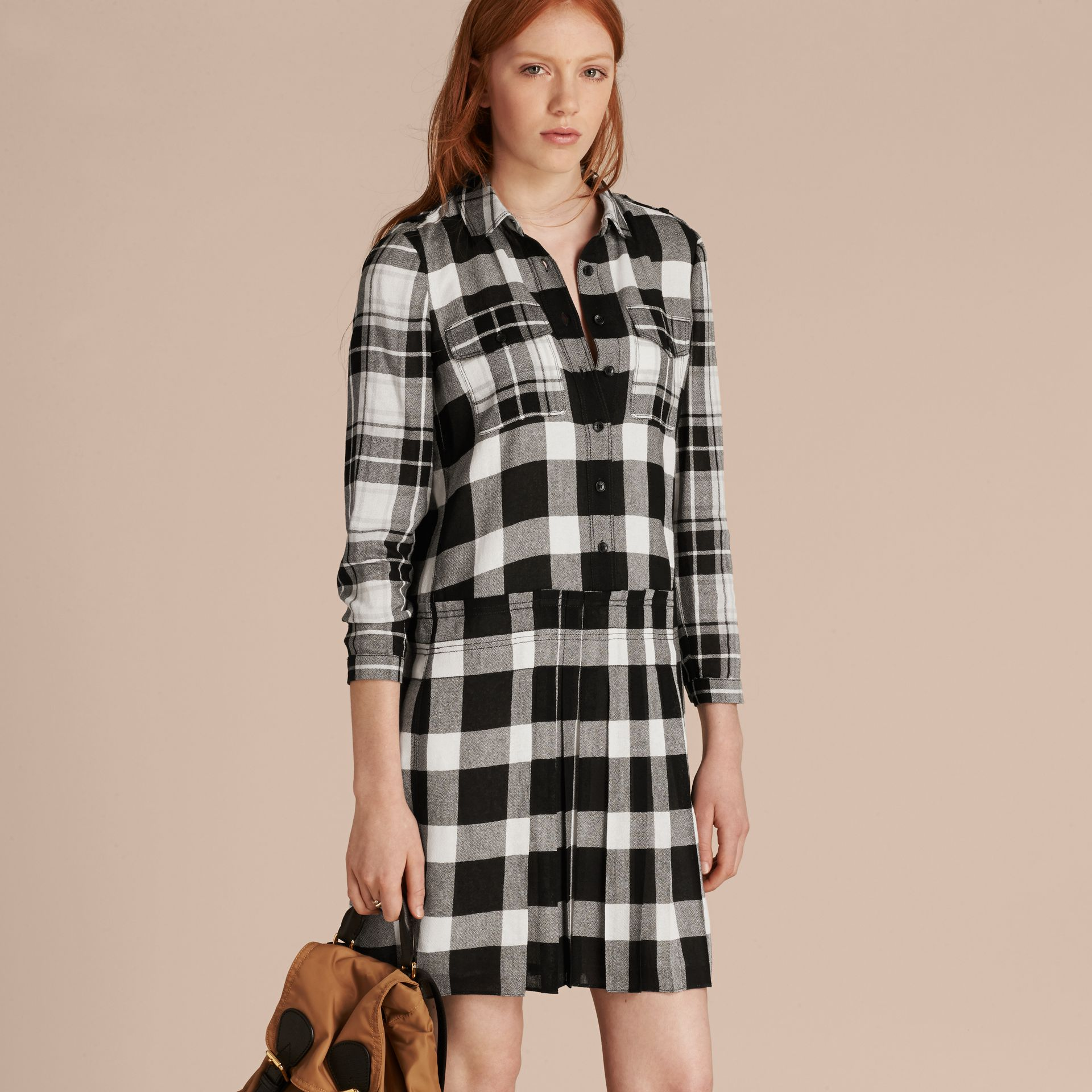 Natural white Check Kilt Dress - gallery image 6