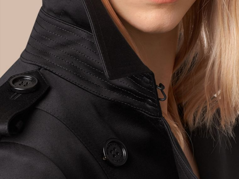 Preto Trench coat de cetim de algodão Preto - cell image 1